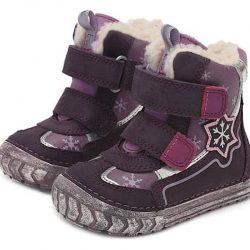 DDStep buciki zimowe fioletowe dzieczęce elastyczna podeszwa na szerkie stópki
