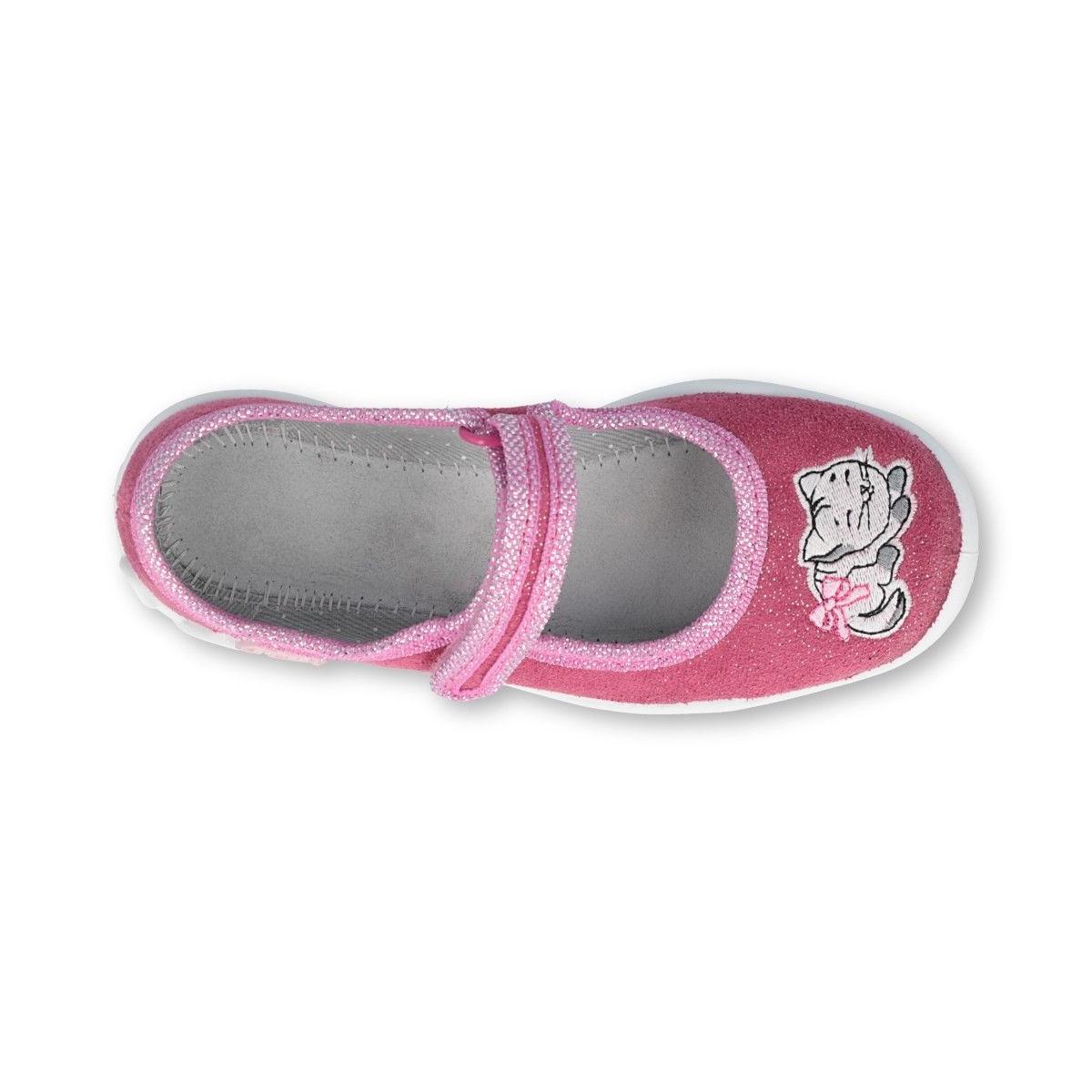 Befado baleriny kapcie tekstylne dla dziewczynki kotek różowe